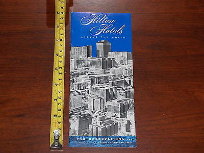 Hilton Hotels Around The World Brochure Rare Old Vintage Date Unknown