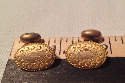 Antique Victorian Cufflinks Bean Back Monogrammed Gold Tone Ornate