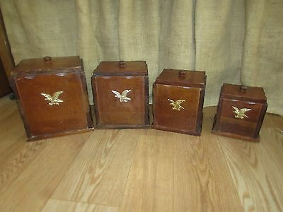 4 pc. Wood Canister Set with Metal Eagle Emblem #1227