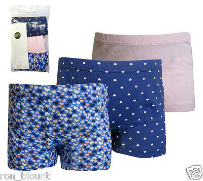Girl's Ex H&m 3Pack Of Organic Cotton Boxer Short Knickers/briefs 18-24M 2-10Yrs