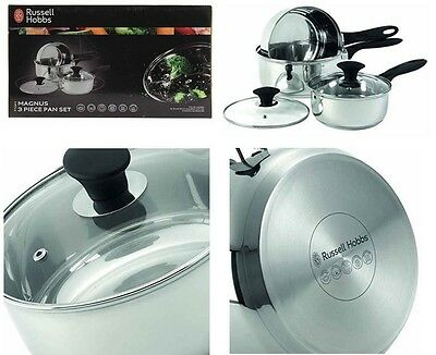 3 Pcs Stainless Steel Pan Saucepans Set Russel Hobbs Glass Lids Induction Base