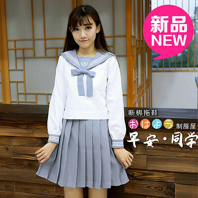 Japanese Japan School Girl Long-Sleeved Uniform Cosplay Costume-Free ship-012