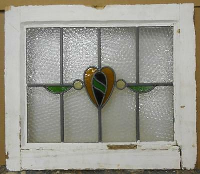 "OLD ENGLISH LEADED STAINED GLASS WINDOW Abstract Heart 20.75"" x 18"""