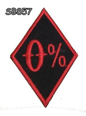 0 % Red on Black  Iron on Small Badge Patch for Biker Vest SB857