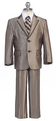 Brown Boys Toddler Kid Teen 5-PC Wedding Formal Party Suit Tuxedo size 2-20