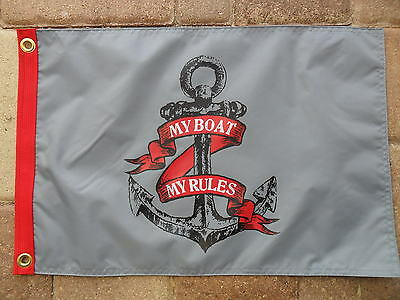 "12""x18"" ""my Boat My Rules"" Anchor Dbl Sided Nylon Boat/yacht Flag Made In Usa"