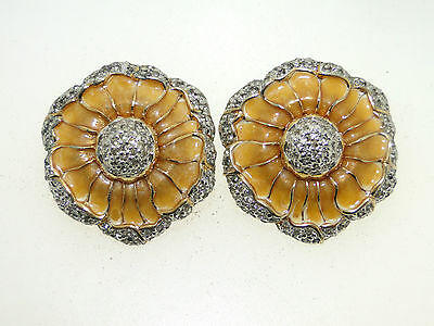 Gorgeous Judith Leiber Swarovski Crystal Enamel Flower Clip On Earrings
