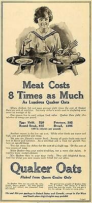 1918 Ad WWI Quaker Oats Cereal Wartime Food Rationing - ORIGINAL TIN3
