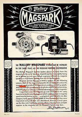 1953 Ad Mallory Electric Magspark Ignition System Car Automobile Parts YMT1