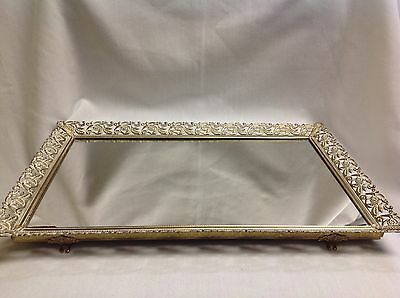 "Vintage Large Vanity Mirror Footed Lay Stand Hang Jewelry Tray Display 14"" x 9"""