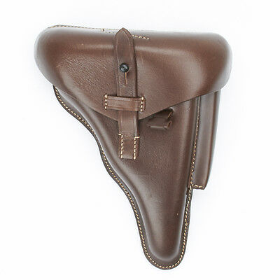 German WWII P08 Luger Brown Leather Hardshell Holster