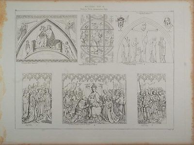 1870 ORIG. Lithograph Germany Church Religious Painting - ORIGINAL ARCH