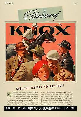 1937 Ad Knox Backswing Mens Hats Artist Jay Hyde Barnum - ORIGINAL ESQ1