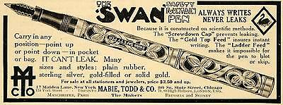1911 Ad Swan Safety Fountain Pen Mabie Todd Company - ORIGINAL ADVERTISING EM1