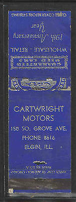 1950s CARTWRIGHTS MOTORS USED CARS ELGIN ILL MATCHBOOK COVER