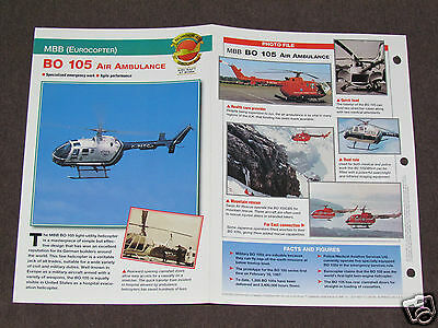 MBB EUROCOPTER BO 105 AIR AMBULANCE Helicopter Photo Spec Sheet Booklet Brochure