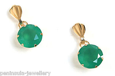 9ct Gold Green Agate Drop Earrings Made in UK Gift Boxed