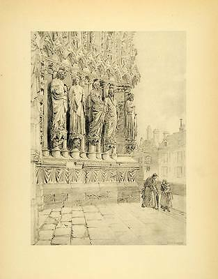 1905 Print Rheims Cathedral France Religious Statues Sculptures Western XAB2