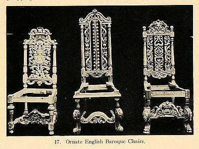 1919 Print English Baroque Chairs Carved Furniture Home ORIGINAL HISTORIC GF4
