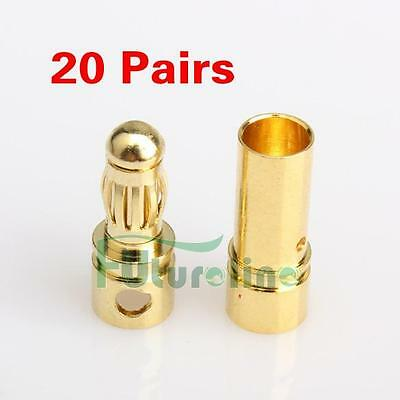 40pcs 3.5mm Gold-plated Bullet Banana Plug Male + Female Connector RC Battery
