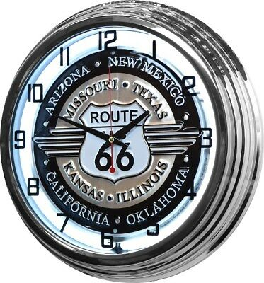 "17"" Route 66 RT White Neon Retro Wall Clock Bar Game Room Man Cave Garage Sign"