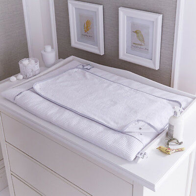 Clair de Lune Silver Lining Waffle 100% Cotton Changing Mat, White