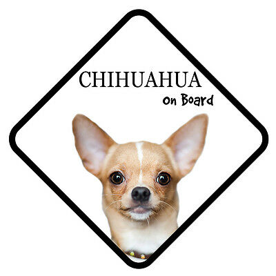 Chihuahua On Board Vinyl Car Van Sticker or Sign and Sucker Pet Animal Lover