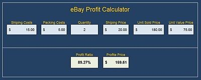 Ebay Selling Calculator Excel Spreadsheet Check Fees And Profit From Sellings !!