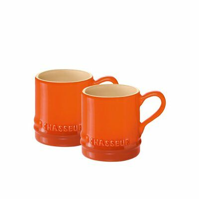 NEW Chasseur La Cuisson Petit Espresso Cups Set of 2 Orange (RRP $19)