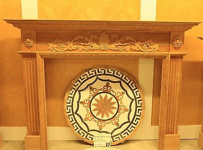 Fireplace Surround (Mantel) (Un-Stained) Grape & Leaf Breast W/fluted Pilaster