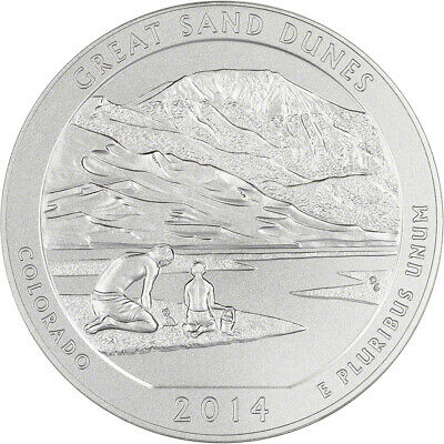 2014-P US America the Beautiful Five Ounce Silver Uncirculated Coin - Sand Dunes