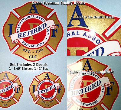 IAFF Firefighter Decals Red Gold Metallic Blue Retired 2pc Kit Lamination 0018