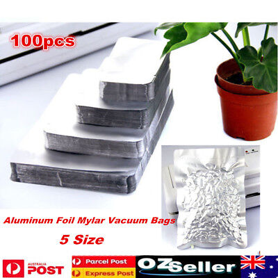 100pcs Silver Aluminum Foil Mylar Bag Vacuum Bag Sealer Food Storage Package