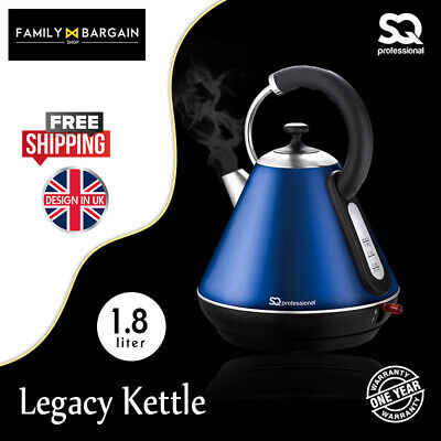 1.8L Cordless Kettle 2200w Fast Boil Electric Washable Filter 360 Swivel BLUE -S