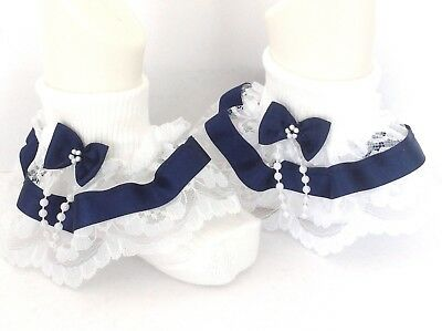 Navy blue beads bow baby/girls/adult lace frilly socks various sizes