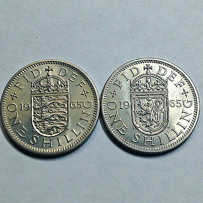Lot Of 2 Great Britain 1965 Uncirculated One Shilling Coins