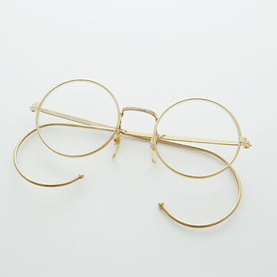Round Lennon Small Spectacle Vintage Glasses Cable Temples NOS Gold - RUDY
