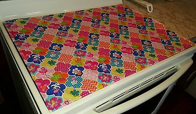 Quilted Tropical Flamingos Glass Stove top / Cook top Cover & Protector