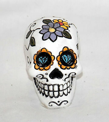 New Miniature Day Of The Dead Sugar Skull White Skull Head With Colorful Flowers