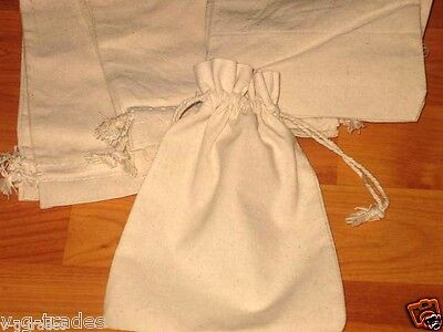 LOT OF 10 NATURAL COTTON Style Drawstring Pouch Wedding Party Favor Bags 5X7