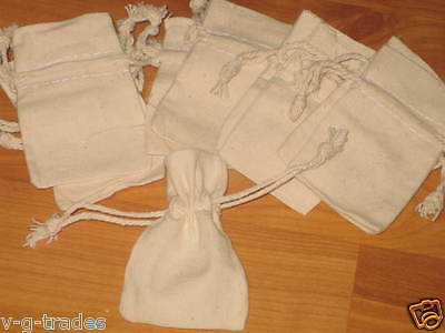 LOT OF 10 NATURAL COTTON Style Drawstring Pouch Wedding Party Favor Bags 2X3