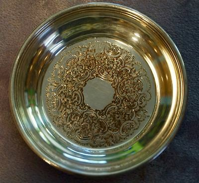 "Antique Silverplate Coaster/Ashtray Barker Ellis Made in England 4 1/8"" Round"