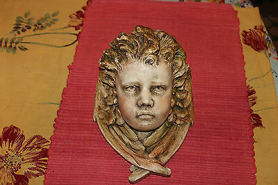 Antique Plaster Religious Spritual Child Angel Cherub Wall Shelf-Realistic Face