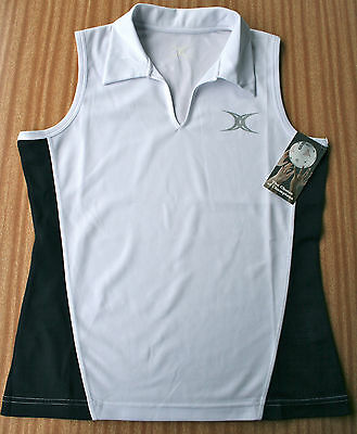 Sleeveless shirt in white/navy, ladies size 14, suit netball umpire or tennis