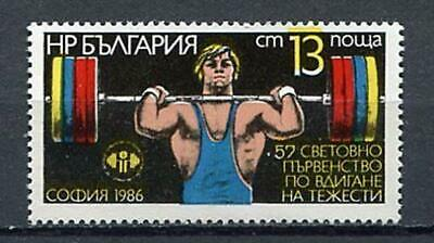 37798) BULGARIA 1986 MNH** Weight Lifting 1v Scott# 3185