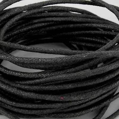 10 Metres x 2mm Black Waxed Cotton Cord  thong String for Bracelets & Necklace