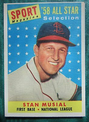 1958 Topps Stan Musial Baseball St. Louis Cardinals Hall of Fame All Star