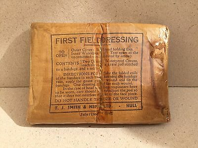Unissued Ww2 British Army First Field Dressing Dated 1942