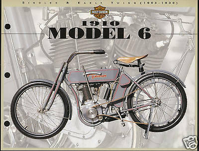 1910 HARLEY-DAVIDSON MODEL 6 Motorcycle Print Picture Spec Sheet 8.5x11""
