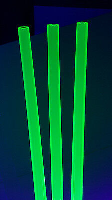 "5 Pc 1/2"" OD 1/4 ID DIAMETER 12"" INCH LONG CLEAR GREEN FLUORESCENT ACRYLIC TUBE"